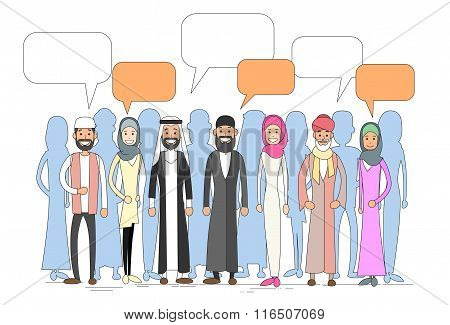 Muslim People Group Talking Discussing Chat Communication Social Network Man and Woman Traditional C