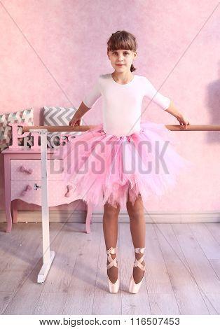 Preteen Blond Girl In Ballet Class