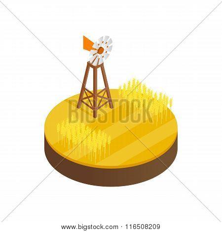 Wind generator and solar panels desert icon