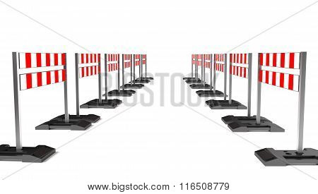 Traffic Construction Symbol, Mobile Barricade Isolated On White.