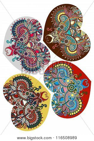 four lace heart shape with ethnic floral paisley design for Vale