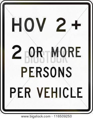United States Mutcd Road Sign - Hov Lane
