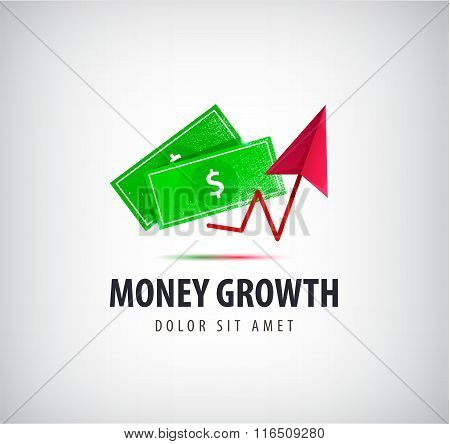 Vector money growth logo, icon isolated.