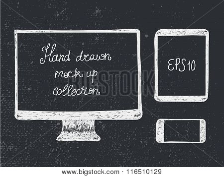 Hand drawn doodle electronic devices mockup set - monitor, tablet and smartphone