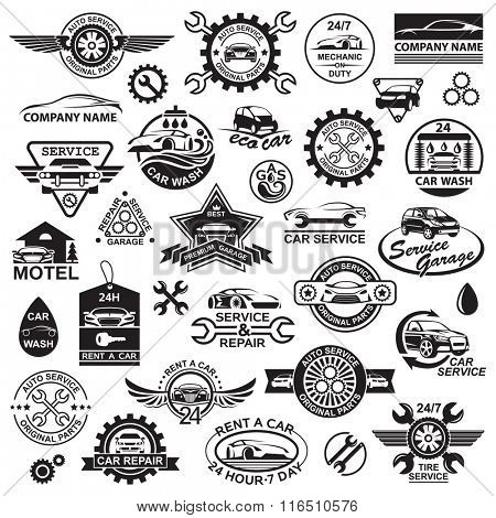 monochrome illustration of various car icons