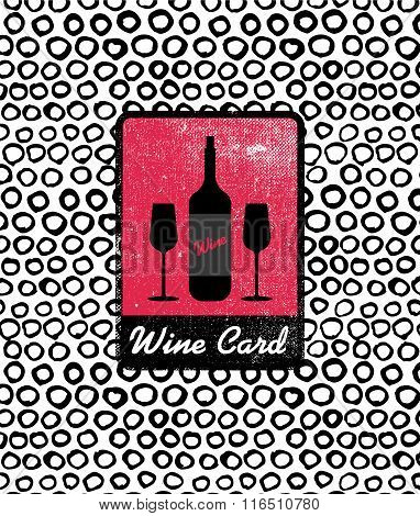 Vector wine card icon, logo, menu cover