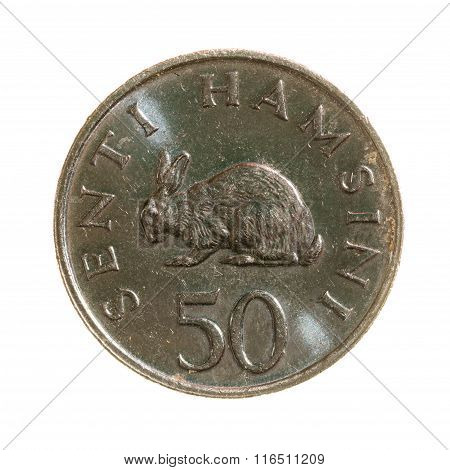 Metal Coins Fifty Cents Tanzania Isolated On White Background. Top View