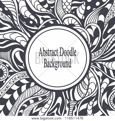 Abstract circle frame with background in Zen-tangle  Zen-doodle style black on white