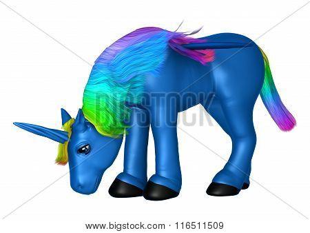 Blue Unicorn On White