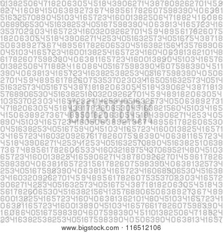 Code Screen Gray Numbers Background. Vector