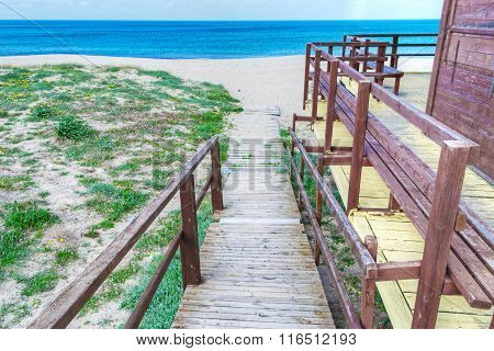 Wooden Path To The Beach In Sardinia