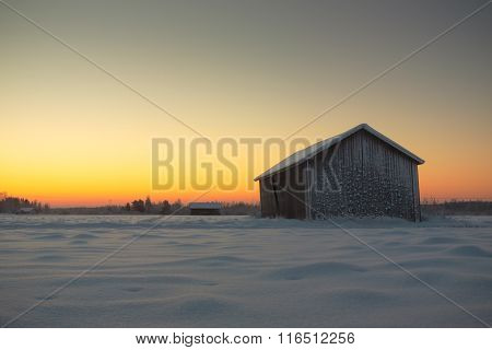 Barn Against The Sunrise