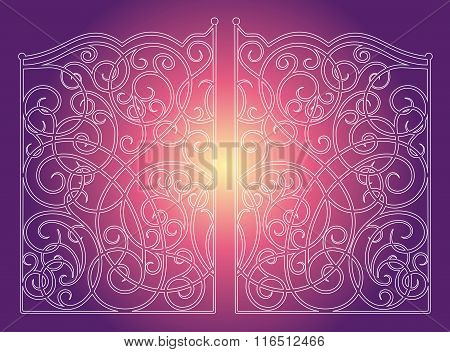 Beautiful Iron Ornament Gates On Purple Pink Background