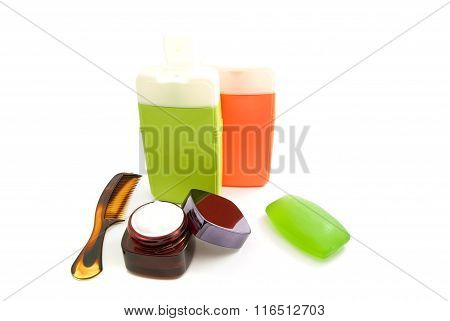 Colored Bottles With Gel And Soap