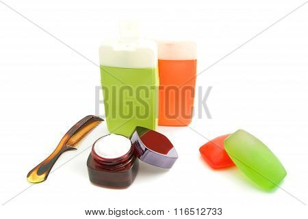 Bottles With Gel And Soap