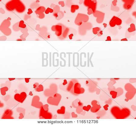 red and pink hearts background with blank paper