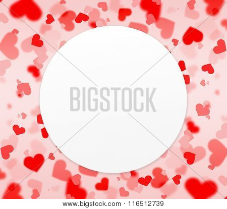red and pink hearts background with blank circle shaped paper