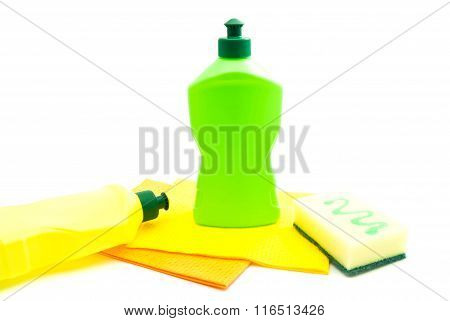 Two Bottles Of Detergent, Sponge And Rags