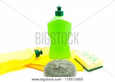 Two Bottles Of Detergent, Sponges And Rags