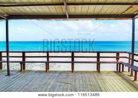 Wooden Porch By The Sea In Sardinia