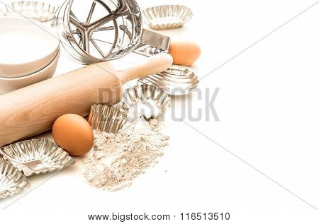 Baking Ingredients And Tolls For Dough Preparation