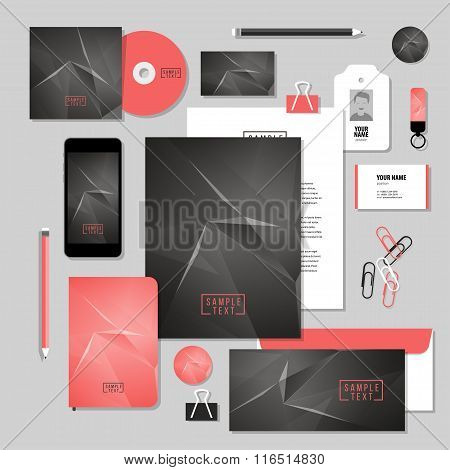 Vector stationery template design with Abstract polygonal space low poly