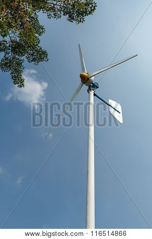 Green Energy Wind Turbine In Running.