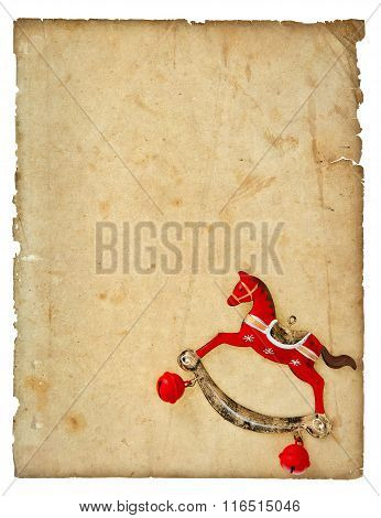 Christmas Decoration Vintage Style Rocking Horse Toy With Aged Paper