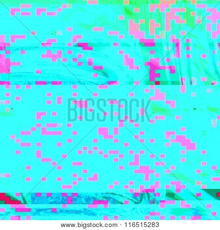 Colored Abstract Glitch Art Design Background.