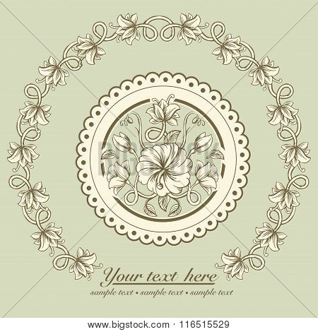 Beautiful card with a round wreath of different weave flowers of vintage
