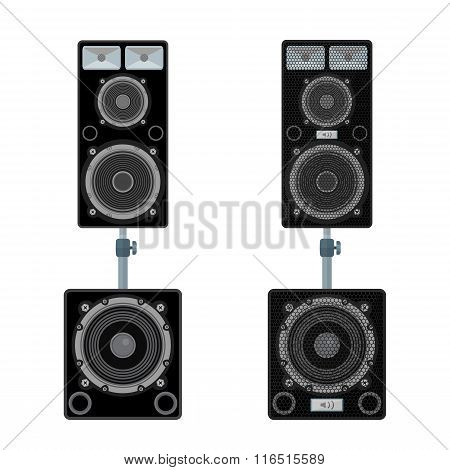 Color Flat Style Loudspeakers Stand Subwoofer Pair Illustration.