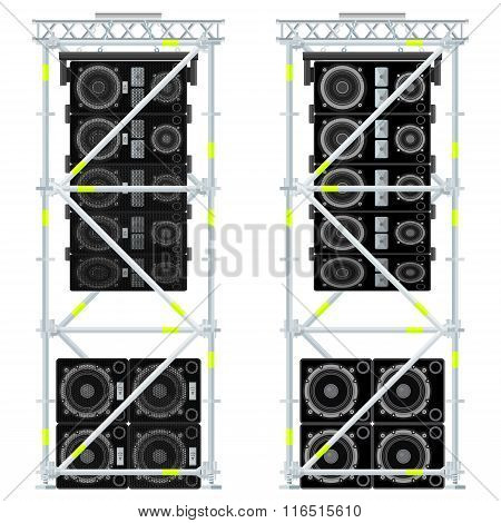Line Array Concert Acoustics Scaffold Suspension Illustration.