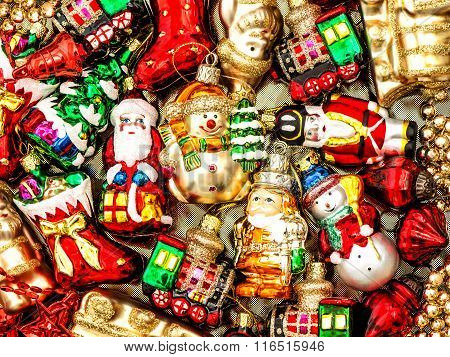 Christmas Decorations Baubles, Balls, Toys And Colorful Ornaments