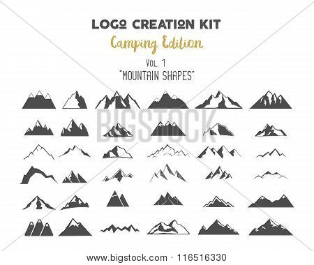 Logo creation kit bundle. Camping Edition set. Mountain vector shapes and elements Create your own o