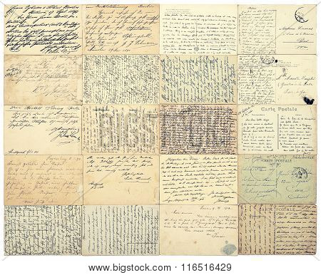 Antique Handwritten Undefined Texts. Grunge Paper Background