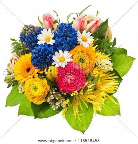 Spring Flowers Bouquet. Tulip, Ranunculus, Hyacinth, Daisy, Gerber