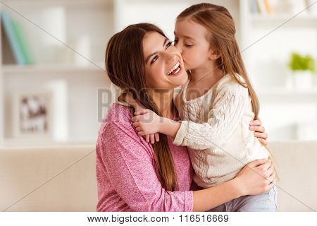 Smiling Mother And Child