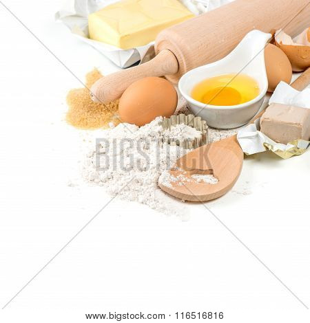 Baking Ingredients Eggs, Flour, Yeast, Sugar, Butter. Kitchen Utensils