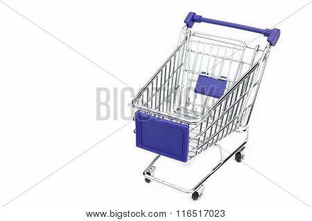 New Empty Blue Shopping Cart Isolated On White Background