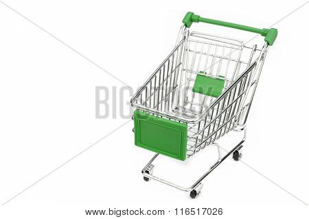 New Empty Green Shopping Cart Isolated On White Background