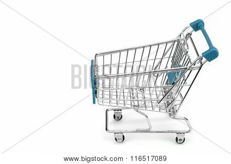 New Empty Blue Shopping Cart Isolated On White, Side View