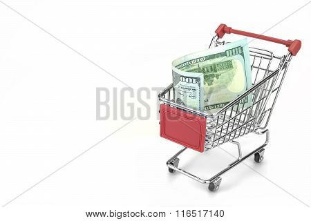 Shopping Cart With Dollar Cash Isolated On White Background, Closeup