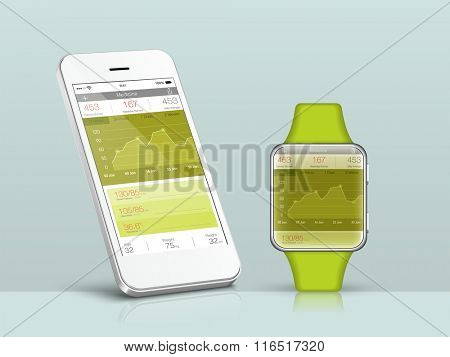 Creative User Interface layout showing synchronization between Smartphone and Smartwatch.