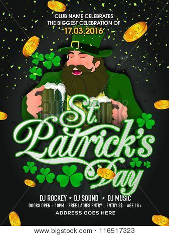 Pamphlet, Banner or Flyer design with illustration of happy Leprechaun for St. Patrick's Day celebration.