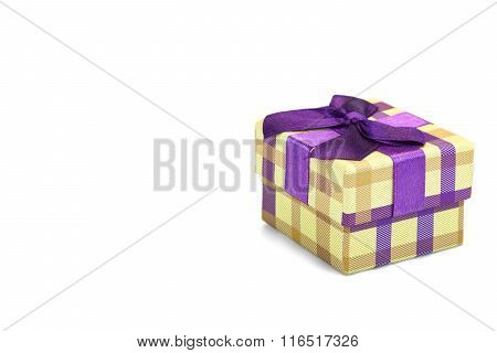 Checkered Gift Box With Tartan Pattern Isolated On White Background
