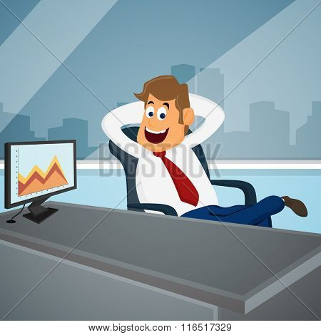 Young happy Businessman relaxing on chair, after success in his goal for Business progress concept.