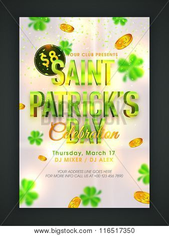 Glossy text Saint Patrick's Day on shamrock leaves and gold coins decorated background, can be used as pamphlet, banner or flyer design.