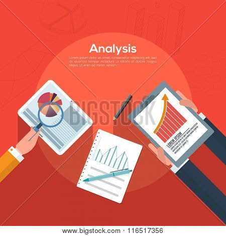 Creative Infographic layout with illustration of peoples analyzing professional graphs for Business progress concept.