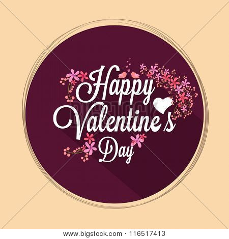Colorful flowers decorated beautiful greeting card for Happy Valentine's Day celebration.