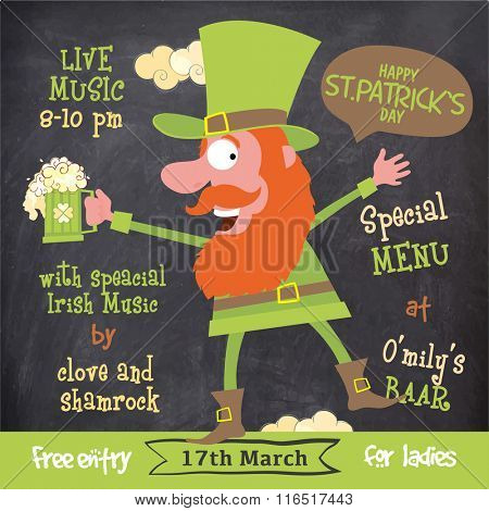 Creative illustration of funny Leprechaun on chalkboard background for St. Patrick's Day Party celebration.